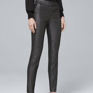Metallic-Jacquard Hematite Slim Ankle Pants